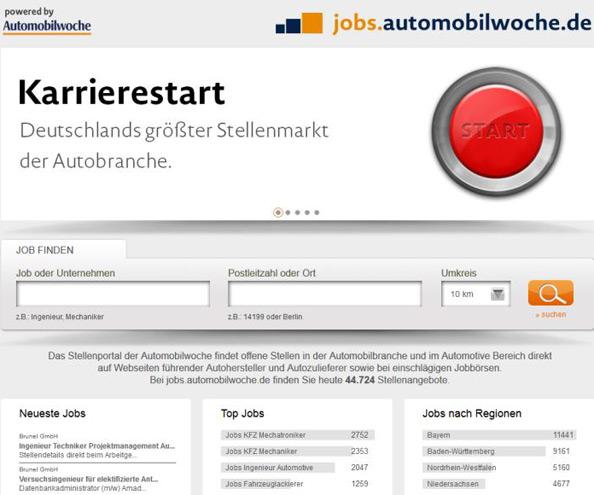 Stellenportal der Automobilwoche im Automotive-Bereich
